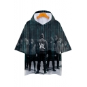 Casual Loose Cool Street Figure Double Letter W Logo Hooded Short Sleeve T-Shirt
