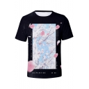 Summer New Fashion Floral Printed Short Sleeve Basic Black T-Shirt