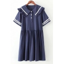 Girls Lovely Ruffled Sailor Collar Stripe Print Cotton A-Line Dress