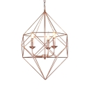 Metal Candle Hanging Lamp with Wire Cage Shade 3 Lights Elegant Chandelier for Hotel Restaurant