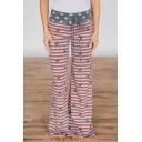 Womens Fashion Drawstring Waist High Rise Stripe Star Flag Print Red Lounge Pants Wide Leg Pants