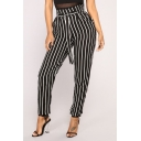 Women's Trendy Vertical Stripe Pattern Tied Waist Casual Pants