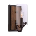 Industrial Cylinder Wall Sconce Single Light Metal and Glass Wall Light in Oil Rubbed Bronze