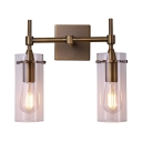 Metal and Glass LED Sconce Wall Light Dining Room Bathroom 2 Lights European Style Wall Light in Brass