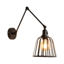 Metal Caged Dome Shade Wall Sconce Light Industrial 1 Light Wall Lamp in Black for Bar Cafe