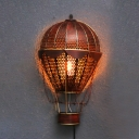 Vintage Style Wall Light with Hot Air Balloon Shape Single Light Metal Sconce Light for Hallway