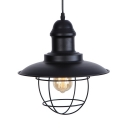 Metal Saucer Pendant Light with Iron Wire Single Light Vintage Style Hanging Pendant in Black for Kitchen