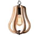 Coffee Shop Melon Shape Pendant Lighting Wood Single Light Rustic Style Beige Hanging Lamp