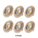 Elegant Round Recessed Down Light 6 Pack 5W Resin Ceiling Light for Bedroom Living Room in Warm
