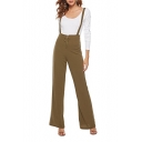 Womens Trendy Solid Color Zipper Front High Waist Suspender Pants