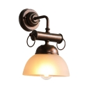 Antique Style Rust Wall Light with Dome Shade 1 Light Frosted Glass and Metal Sconce Light for Bar