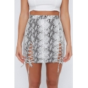 Women's Cool Snake Printed Tied Up Side High Rise Mini Bodycon Skirt
