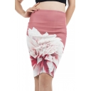 Women's New Fancy Floral Printed Split Back Pink Knee Length Bodycon Skirt