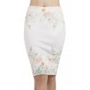 Summer New Trendy Floral Printed Slit Back Mini White Bodycon Skirt