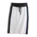 New Trendy Colorblock Patchwork Drawstring Waist Casual Sport Midi Shift Skirt