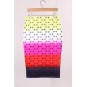Summer Unique Designer Colorful Ombre Circle Midi Bodycon Skirt