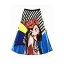 Summer New Trendy Cartoon Girl Printed Midi A-Line Pleated Skirt