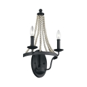 2 Lights Candle Shape Wall Sconce with Wooden Beads Metal Wall Light in Black for Living Room