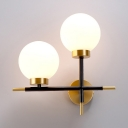 Metal Frosted Glass Wall Sconce with White Globe Shape 2 Lights Modern Sconce Wall Light for Bedroom