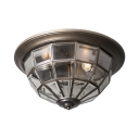 Antique Style Cone Flush Mont Light Glass Clear Glass 2/3 Lights Bronze Ceiling Light for Hotel Foyer