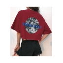 Trendy Earth Letter TOUCHWORLD Pattern Casual Loose Summer Cropped T-Shirt