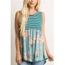 Womens Summer Green Stripe Floral Printed Sleeveless Loose Leisure Tank Top