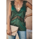 Womens Sexy Lace Trim V-Neck Sleeveless Satin Tank Top