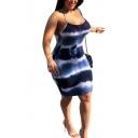 Summer Fancy Tie Dye Print Halter Neck Knee Length Bodycon Dress
