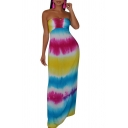 Summer Bohemian Style Fashion Tie Dye Hollow Out Back Maxi Beach Dress Bandeau Dress for Women