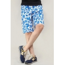 Summer Blue Tropical Plants Printed Fashion Flap Pocket Side Loose Cotton Swim Trunks