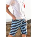 Mens Fashion Drawstring Waist Striped Letter SPORTS Cotton Lounge Shorts Beach Swim Shorts