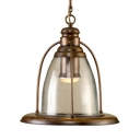 Vintage Style Cone Light Fixture 1 Light Metal and Clear Glass Pendant Light for Balcony Hallway