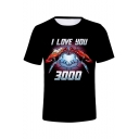 Summer Cool Unique Iron Hand Heart Letter I Love You 3000 Short Sleeve Black T-Shirt