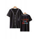 Fashion Contrast Piping Colorful Letter I Love You 3000 Short Sleeve Unisex Casual Baseball Shirt