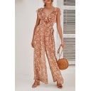 Summer Holiday Chic Floral Printed Ruffled V-Neck Casual Wide-Leg Jumpsuits