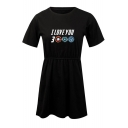 Summer Basic Round Neck Short Sleeve Fashion Letter I Love You 3000 Mini A-Line T-Shirt Dress