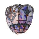 Plug In Wall Sconce Glass Remote Control Tiffany Style Sconce Light with Multi Color for Hallway Bar