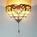 Tiffany Style Baroque Sconce Lamp Hand Made Stained Glass Abstract Pattern Wall Lamp for Bedroom
