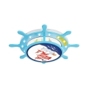 Pirate Ship Shape Flush Mount Light White/Warm Lighting/Stepless Dimming LED Ceiling Light for Boy Bedroom