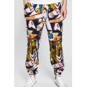 Ethnic Print Drawstring Waist Linen Lounge Pants for Men