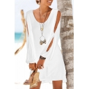 New Trendy Solid Color V-Neck Sexy Hollow Out Long Sleeve Mini Beach Dress