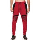 Mens Colorblock Patched Unique Cutout Drawstring Waist Cotton Casual Sport Joggers Sweatpants