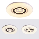 Third Gear LED Ceiling Light Boy Girl Bedroom Creative White Round Flush Mount Light with Cute Pattern