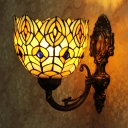 Stained Glass Dome Wall Lamp Flower Shape Tiffany Style Sconce Light for Hallway Restaurant