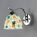 Dome Shade Kitchen Sconce Light Glass 1 Light Mediterranean Style Wall Lamp with Multi Color