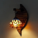Tiffany Style Dragonfly Wall Sconce 1 Light Stained Glass and Wood Sconce Light for Cafe