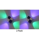 (2 Pack)4 Heads Aluminum Spot Light Long Life Wireless Square Sconce Light in Warm White/Multi Color for Living Room Bedroom