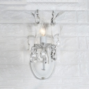 Candle Shape Bedroom Wall Light Fixture Clear Crystal 1/2 Lights European Style in White