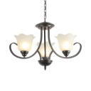 White Flower Shade Chandelier 3/6/8/9 Lights Antique Style Metal Frosted Glass Hanging Light for Dining Room