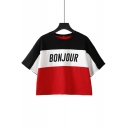 Trendy Color Block BONJOUR Letter Round Neck Short Sleeve Cropped Tee